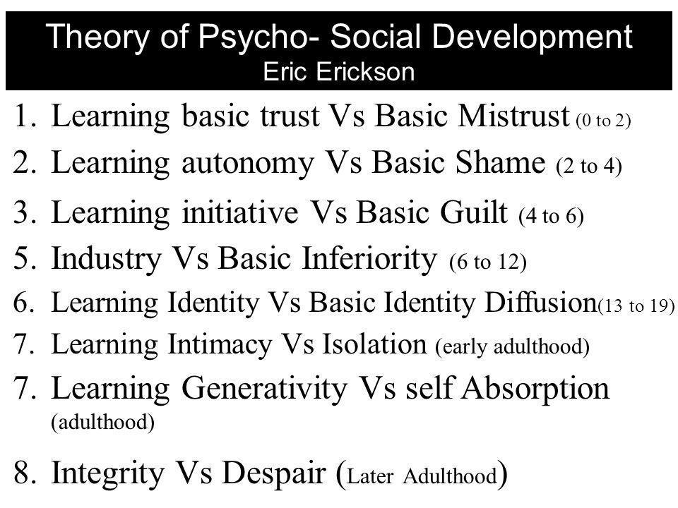 1.Learning basic trust Vs Basic Mistrust (0 to 2) 2.Learning autonomy Vs Basic Shame (2 to 4) 3.Learning initiative Vs Basic Guilt (4 to 6) 5.Industry