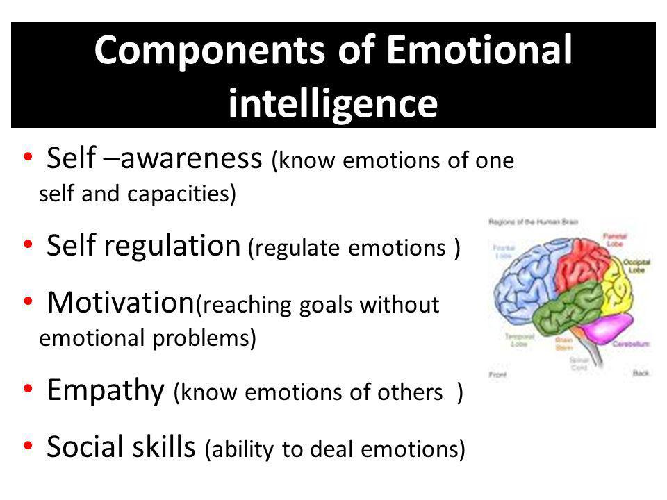 Components of Emotional intelligence Self –awareness (know emotions of one self and capacities) Self regulation (regulate emotions ) Motivation (reach