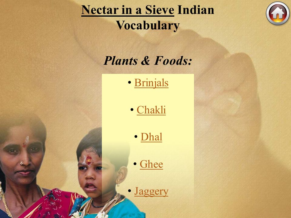 Nectar in a Sieve Indian Vocabulary Plants & Foods: Brinjals Chakli Dhal Ghee Jaggery