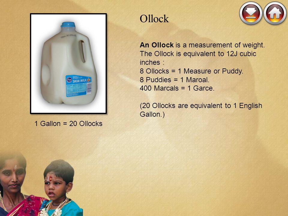 Ollock An Ollock is a measurement of weight. The Ollock is equivalent to 12J cubic inches : 8 Ollocks = 1 Measure or Puddy. 8 Puddies = 1 Maroal. 400