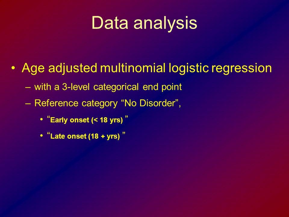 Data analysis Age adjusted multinomial logistic regression –with a 3-level categorical end point –Reference category No Disorder, Early onset (< 18 yr