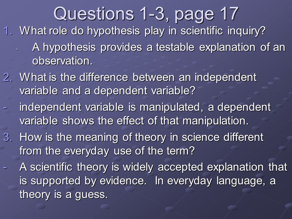 Questions 1-3, page 17 1.What role do hypothesis play in scientific inquiry? - A hypothesis provides a testable explanation of an observation. 2.What