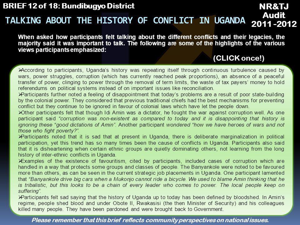 NR&TJ Audit 2011 -2012 BRIEF 12 of 18: Bundibugyo District LOOKING FORWARD Future