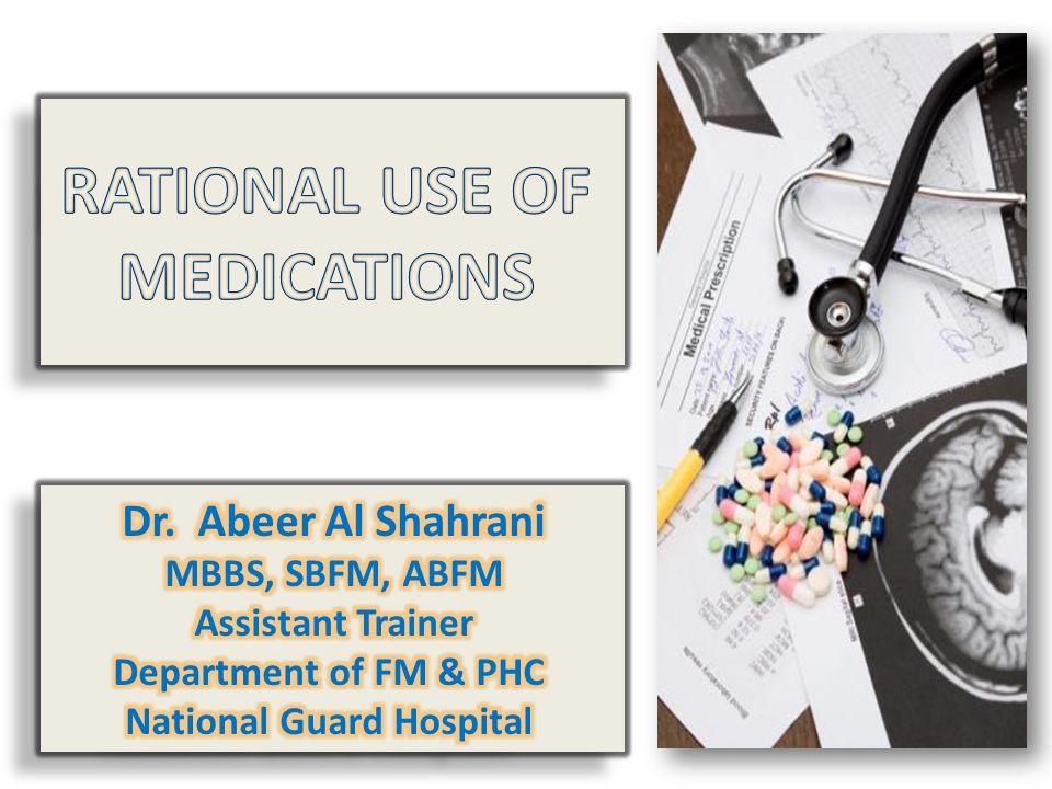Rational Drug Use Drug Supply System Patient & community Policy, Legal & Regulatory framework Prescriber, Dispenser & workplaces