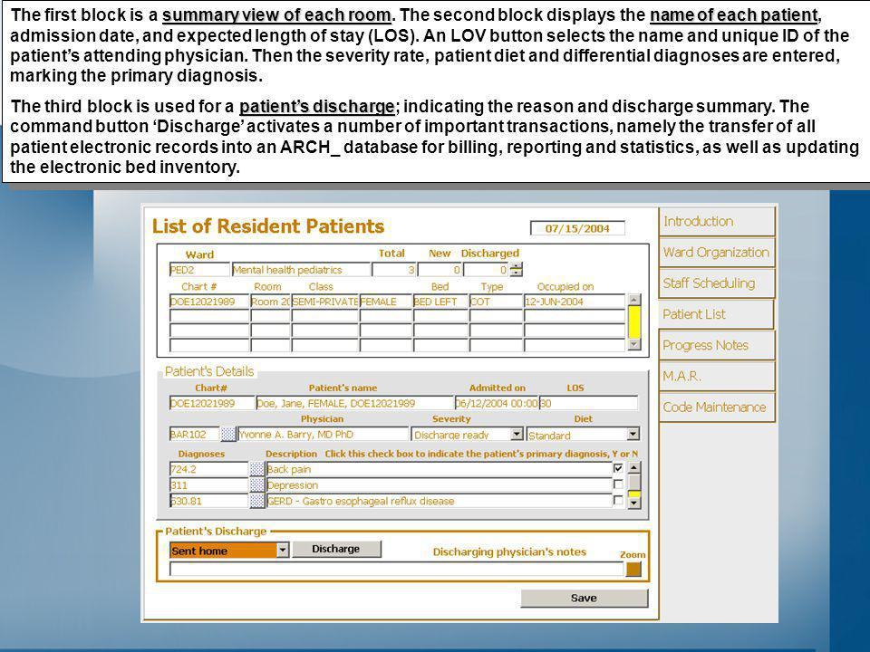 summary view of each roomname of each patient The first block is a summary view of each room.