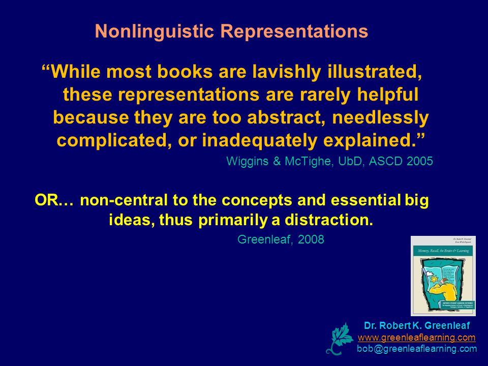 Nonlinguistic Representations Dr. Robert K. Greenleaf www.greenleaflearning.com bob@greenleaflearning.com While most books are lavishly illustrated, t