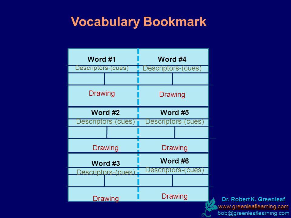 Word #1 Descriptors-(cues) Drawing Word #4 Descriptors-(cues) Drawing Word #2 Descriptors-(cues) Drawing Word #3 Descriptors-(cues) Drawing Word #5 Descriptors-(cues) Drawing Word #6 Descriptors-(cues) Drawing Vocabulary Bookmark Dr.