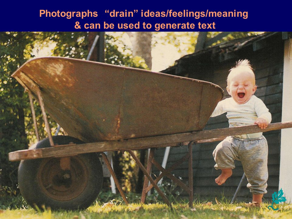 Photographs drain ideas/feelings/meaning & can be used to generate text