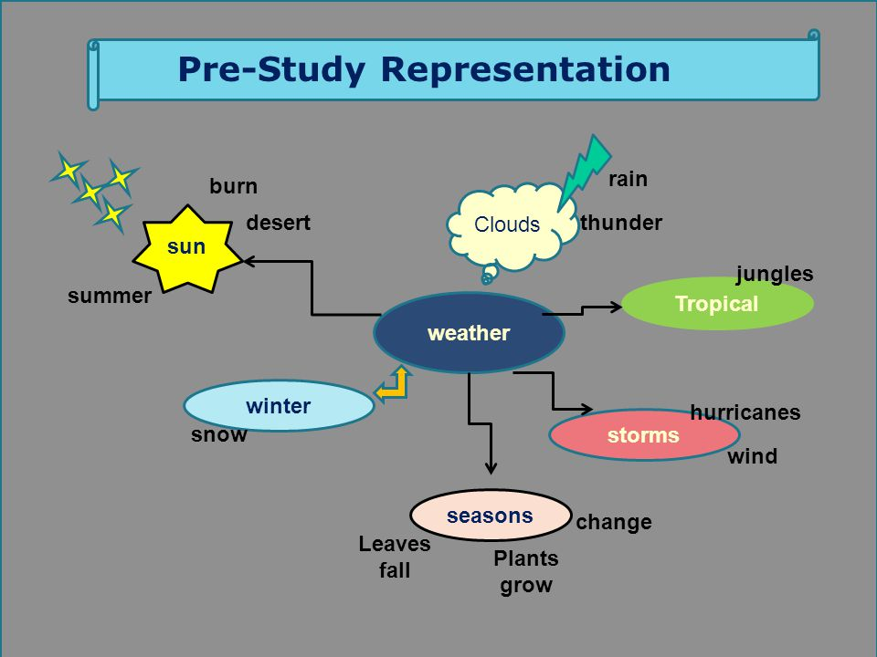 Learners weather Tropical winter seasons storms sun Clouds snow burn summer desert rain change wind Plants grow hurricanes Leaves fall jungles thunder Pre-Study Representation Dr.