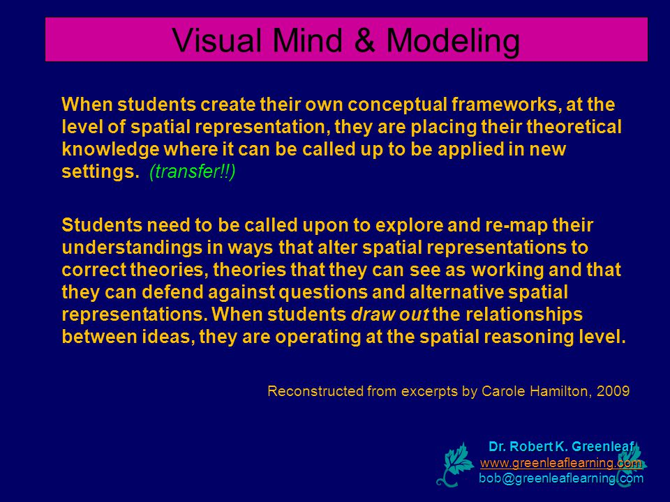 Visual Mind & Modeling When students create their own conceptual frameworks, at the level of spatial representation, they are placing their theoretical knowledge where it can be called up to be applied in new settings.