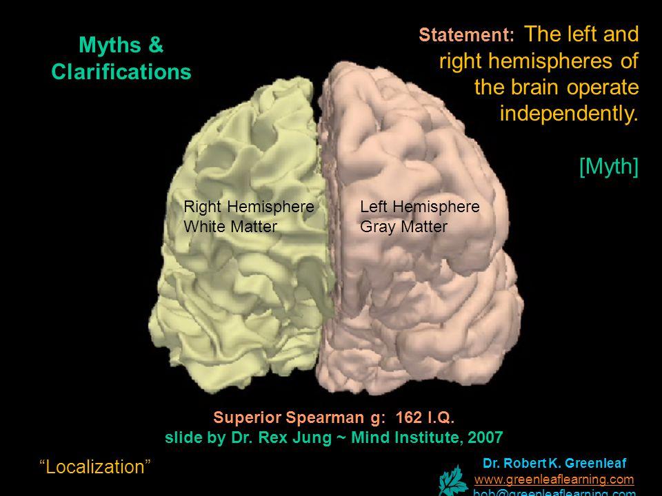 Superior Spearman g: 162 I.Q. slide by Dr. Rex Jung ~ Mind Institute, 2007 Left Hemisphere Gray Matter Right Hemisphere White Matter Myths & Clarifica