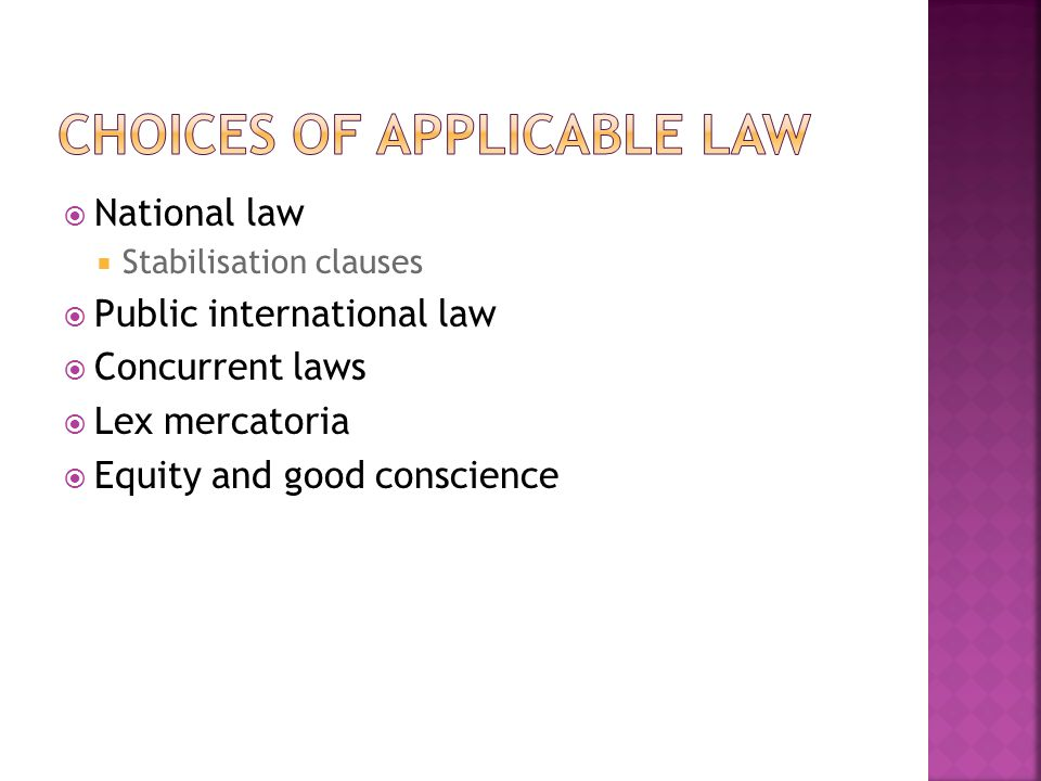 National law Stabilisation clauses Public international law Concurrent laws Lex mercatoria Equity and good conscience