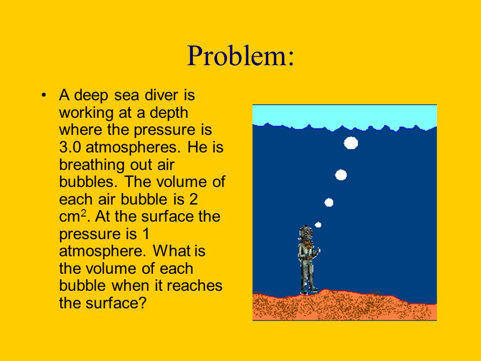 Problem: A deep sea diver is working at a depth where the pressure is 3.0 atmospheres. He is breathing out air bubbles. The volume of each air bubble
