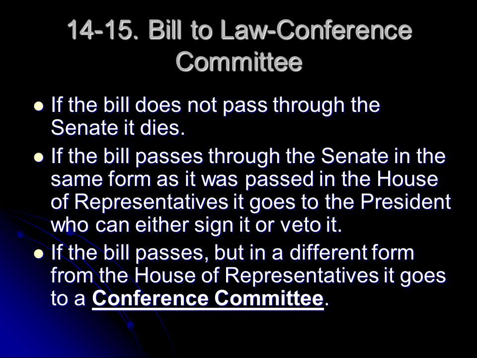 14-15.Bill to Law-Conference Committee If the bill does not pass through the Senate it dies.