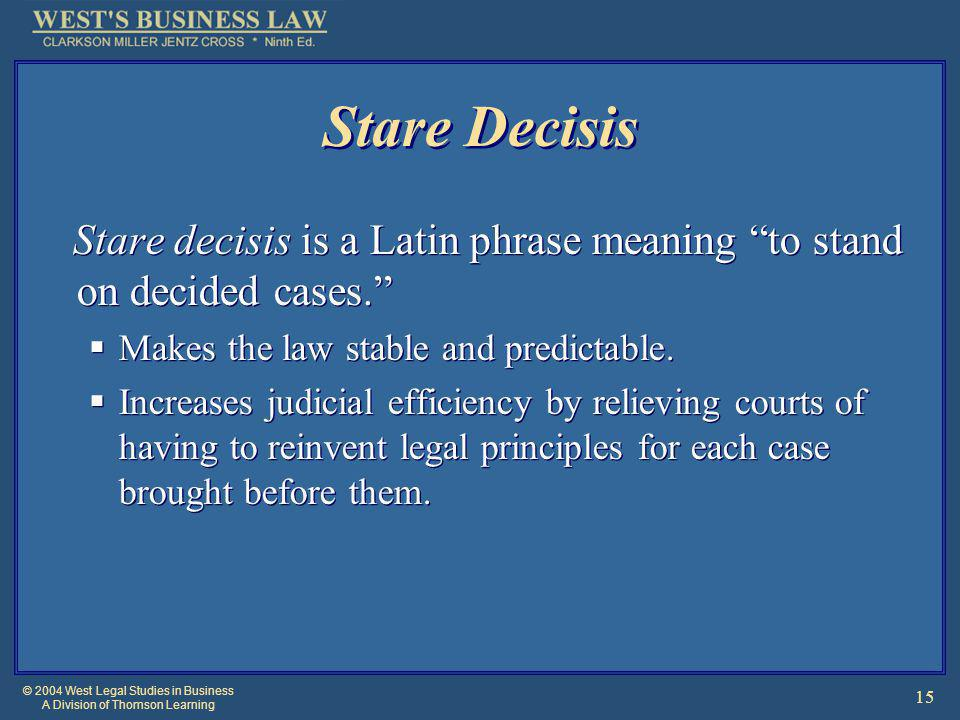 © 2004 West Legal Studies in Business A Division of Thomson Learning 15 Stare Decisis Stare decisis is a Latin phrase meaning to stand on decided cases.