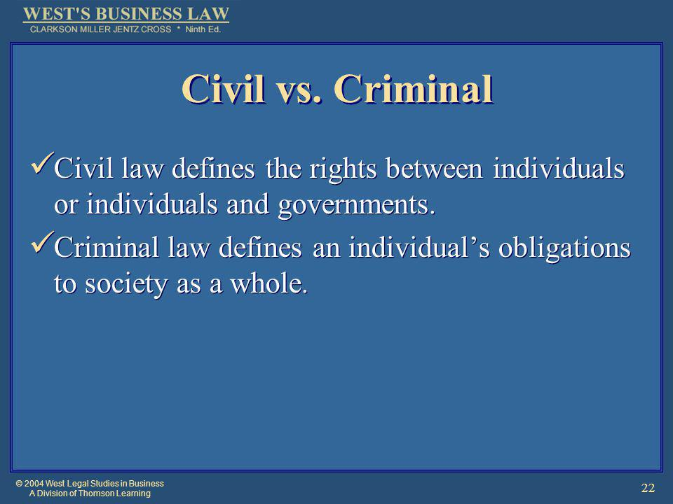 © 2004 West Legal Studies in Business A Division of Thomson Learning 22 Civil vs.