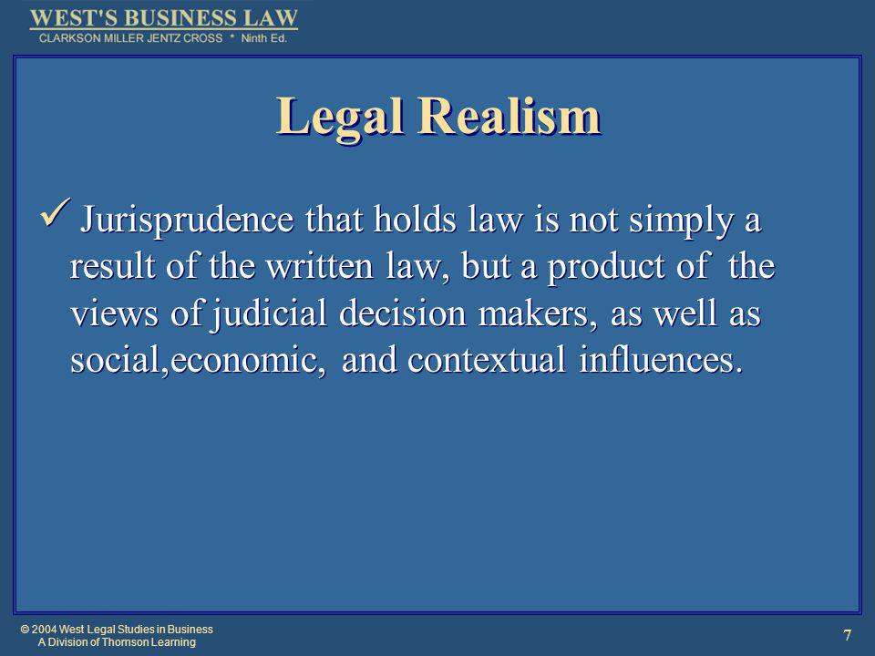 © 2004 West Legal Studies in Business A Division of Thomson Learning 18 Stare Decisis and Legal Reasoning Method used by judges to reach a decision.