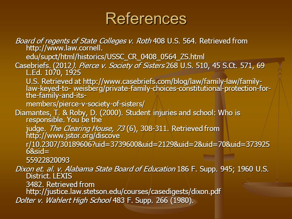 References Board of regents of State Colleges v. Roth 408 U.S.