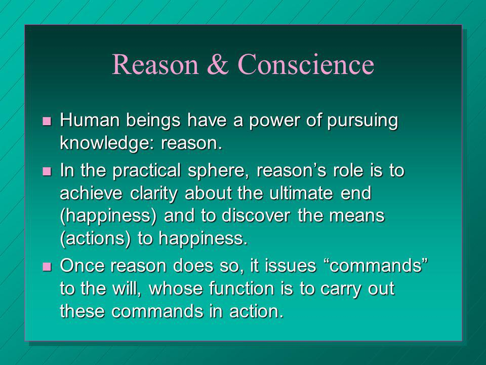 Reason & Conscience Human beings have a power of pursuing knowledge: reason. Human beings have a power of pursuing knowledge: reason. In the practical