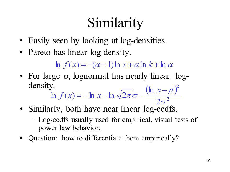 10 Similarity Easily seen by looking at log-densities.