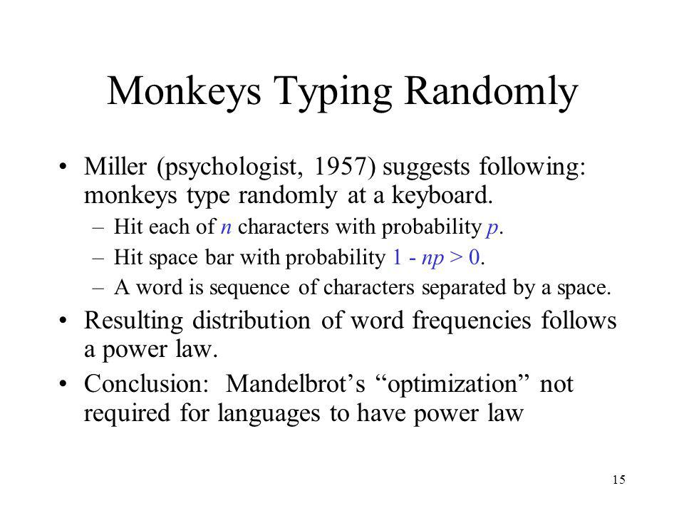 15 Monkeys Typing Randomly Miller (psychologist, 1957) suggests following: monkeys type randomly at a keyboard. –Hit each of n characters with probabi