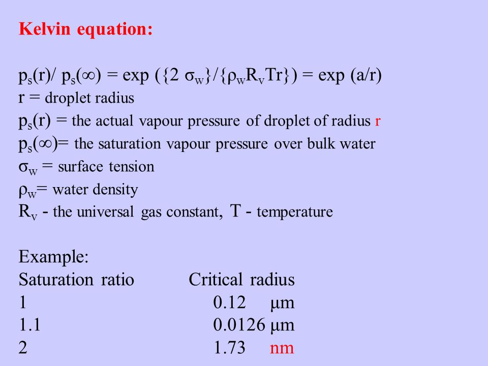 Kelvin equation: p s (r)/ p s () = exp ({2 σ w }/{ρ w R v Tr}) = exp (a/r) r = droplet radius p s (r) = the actual vapour pressure of droplet of radius r p s ()= the saturation vapour pressure over bulk water σ w = surface tension ρ w = water density R v - the universal gas constant, T - temperature Example: Saturation ratio Critical radius 1 0.12 μm 1.1 0.0126 μm 2 1.73 nm