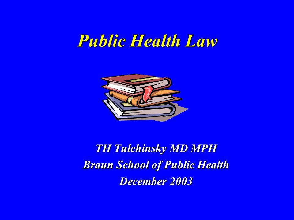 Public Health Law TH Tulchinsky MD MPH Braun School of Public Health December 2003