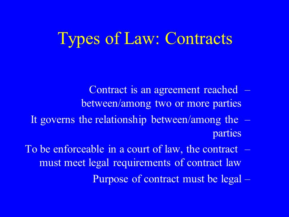 Types of Law Administrative Law –This has become a very important area of law in the US –Agencies/departments within the executive branch of government have more and more power –They set rules and regulations, enforce them, and interpret them –Can order both civil and criminal penalties