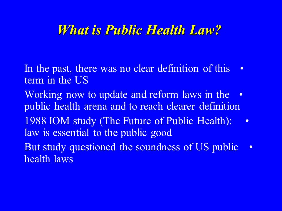 What is Public Health Law.