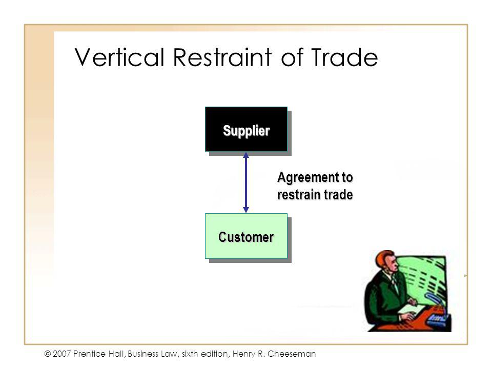 47 - 17 © 2007 Prentice Hall, Business Law, sixth edition, Henry R. Cheeseman Vertical Restraint of Trade Supplier Customer Agreement to restrain trad