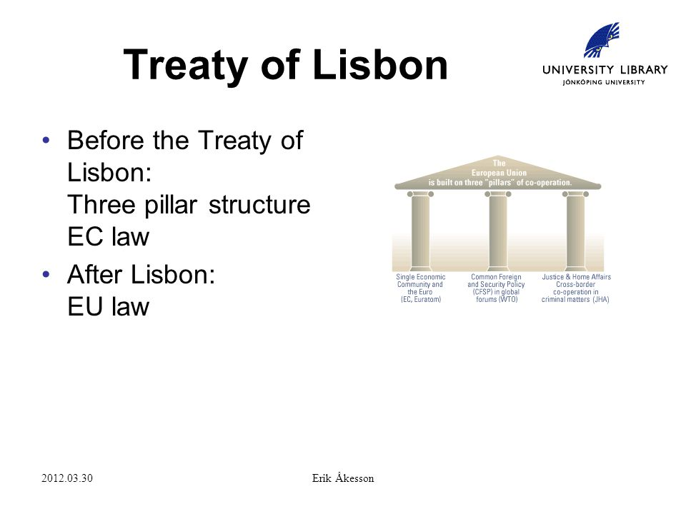 2012.03.30Erik Åkesson Treaty of Lisbon Before the Treaty of Lisbon: Three pillar structure EC law After Lisbon: EU law