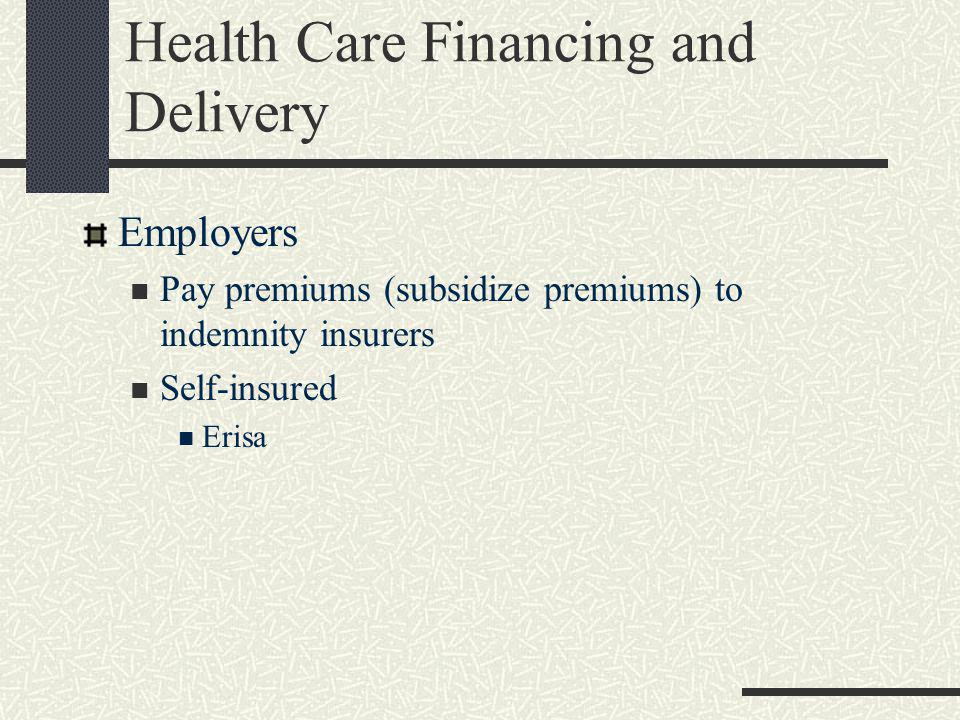 Health Care Financing and Delivery Hospitals Originally for the sick-poor Often formed by religious organizations Historically, non-profits dominated Rise of the for profit hospital Relationship to physicians Employees (typically residents, pathologists, radiologists, emergency room physicians) The Medical Staff
