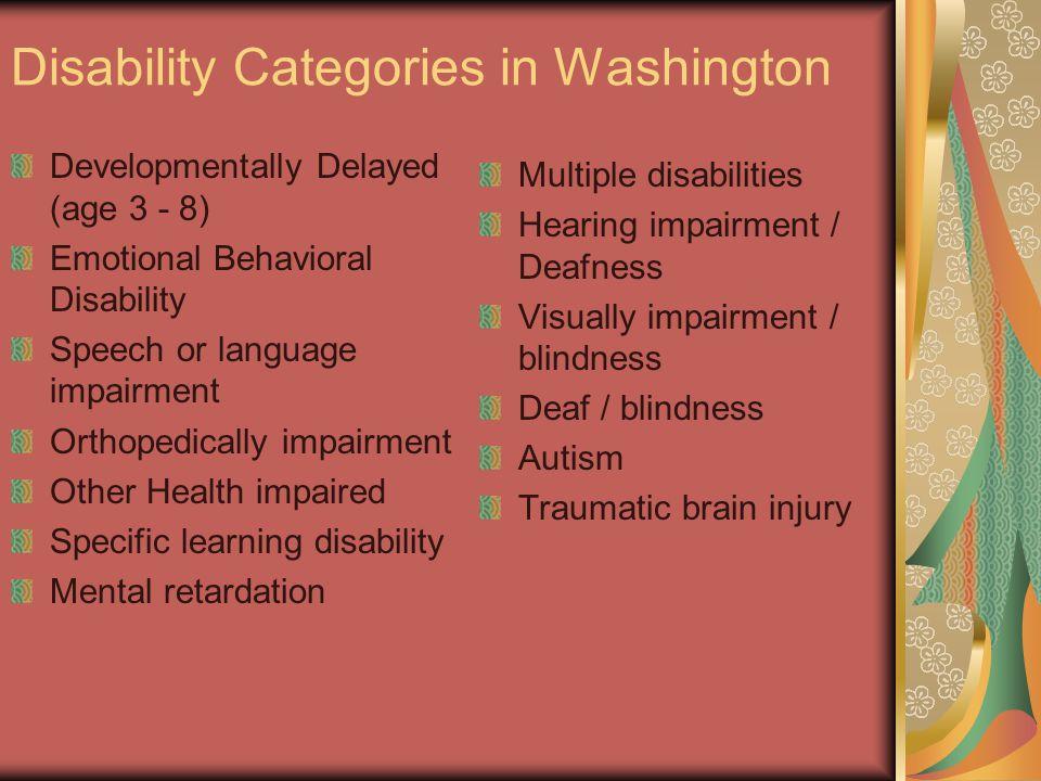Disability Categories in Washington Developmentally Delayed (age 3 - 8) Emotional Behavioral Disability Speech or language impairment Orthopedically i