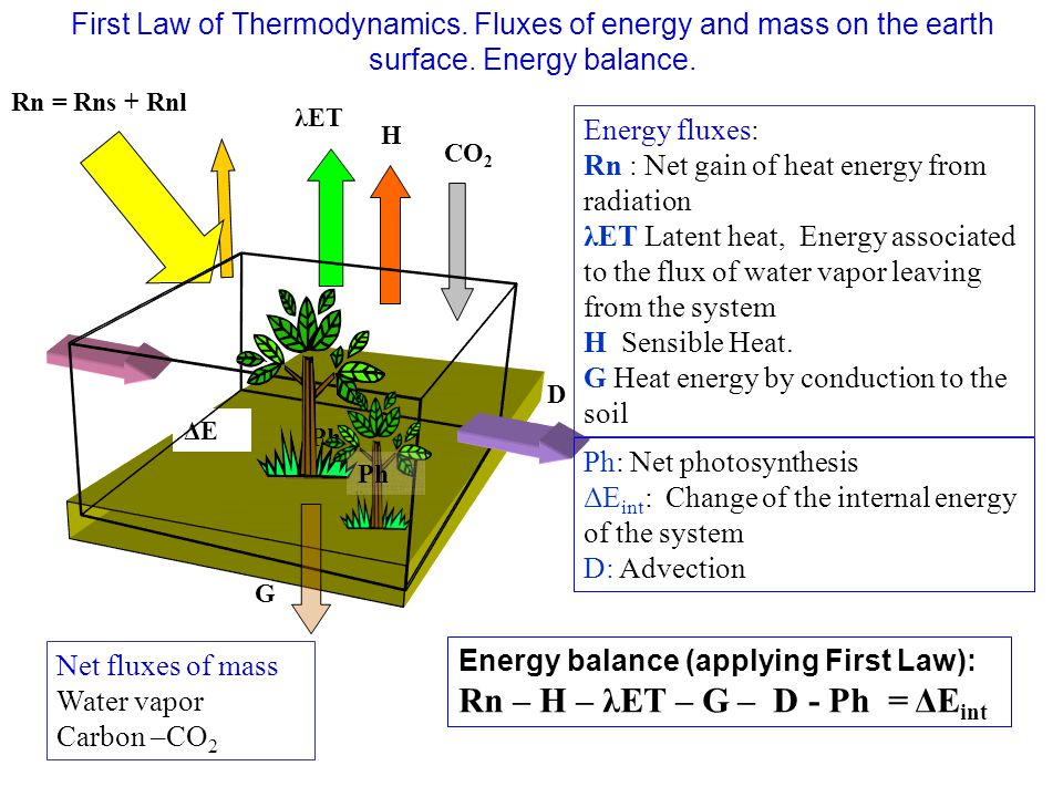 H λET CO 2 Rn = Rns + Rnl D G ΔEΔE Ph Net fluxes of mass Water vapor Carbon –CO 2 Energy fluxes: Rn : Net gain of heat energy from radiation λET Laten