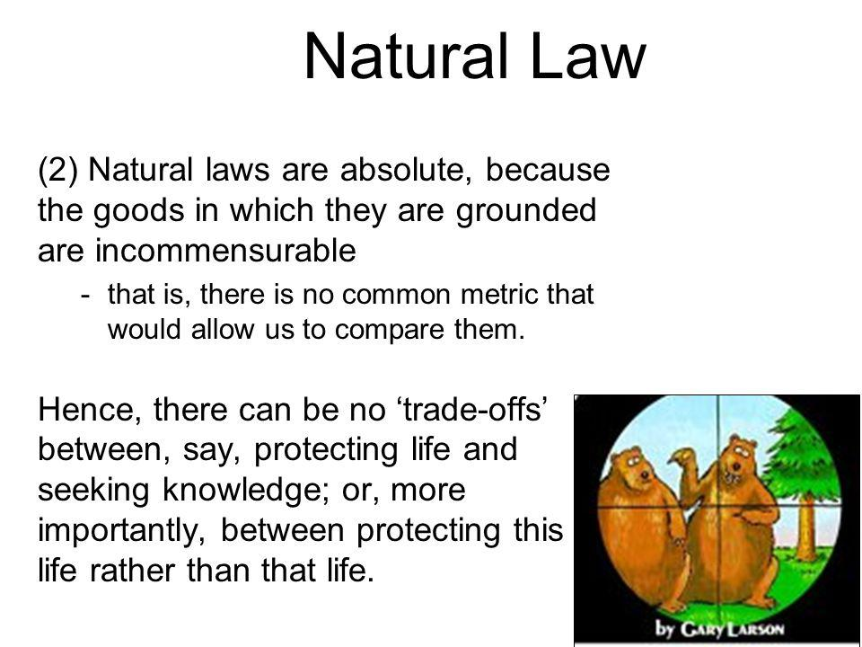 Natural Law (2) Natural laws are absolute, because the goods in which they are grounded are incommensurable -that is, there is no common metric that would allow us to compare them.