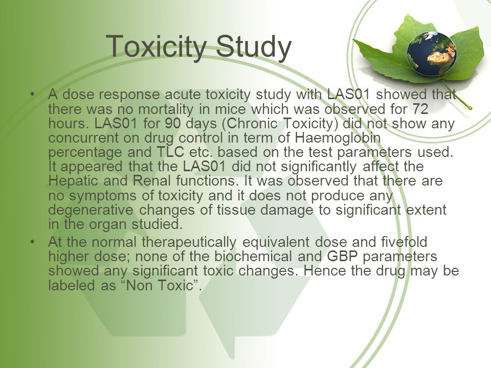Toxicity Study A dose response acute toxicity study with LAS01 showed that there was no mortality in mice which was observed for 72 hours. LAS01 for 9