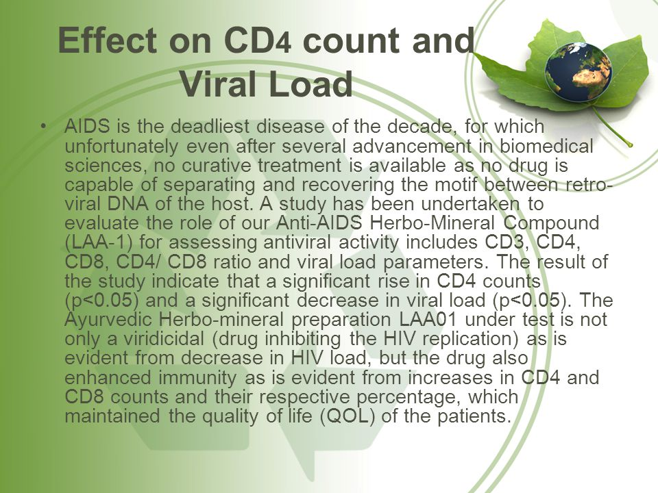 Effect on CD 4 count and Viral Load AIDS is the deadliest disease of the decade, for which unfortunately even after several advancement in biomedical