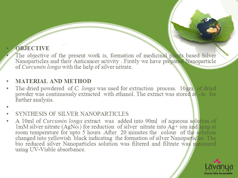 OBJECTIVE The objective of the present work is, formation of medicinal plants based Silver Nanoparticles and their Anticancer activity. Firstly we hav