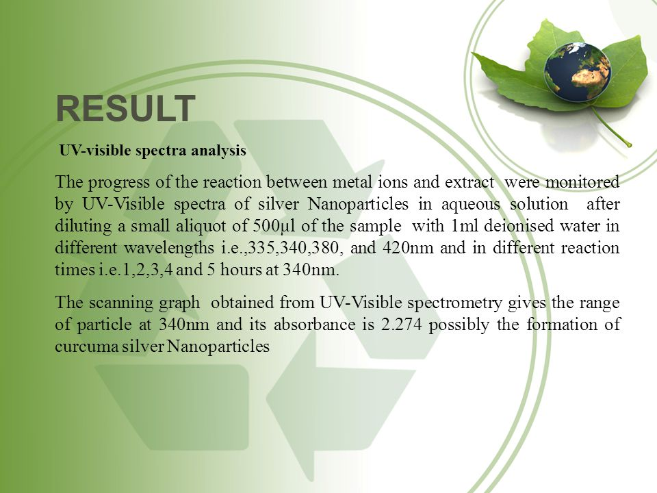 RESULT UV-visible spectra analysis The progress of the reaction between metal ions and extract were monitored by UV-Visible spectra of silver Nanopart