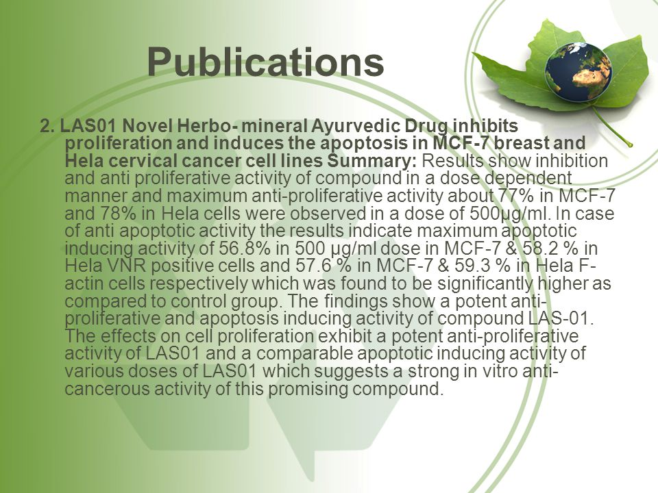 Publications 2. LAS01 Novel Herbo- mineral Ayurvedic Drug inhibits proliferation and induces the apoptosis in MCF-7 breast and Hela cervical cancer ce