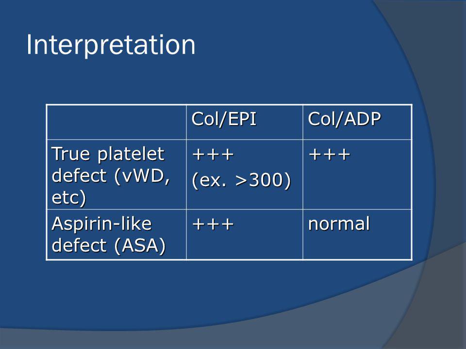 Interpretation Col/EPICol/ADP True platelet defect (vWD, etc) +++ (ex.
