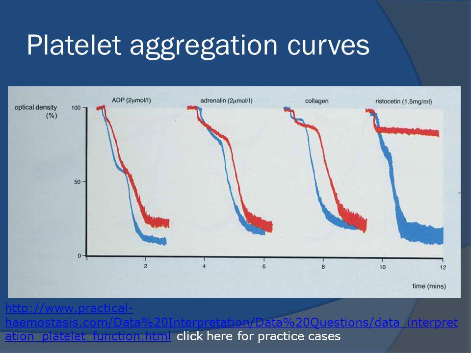 Platelet aggregation curves http://www.practical- haemostasis.com/Data%20Interpretation/Data%20Questions/data_interpret ation_platelet_function.htmlhttp://www.practical- haemostasis.com/Data%20Interpretation/Data%20Questions/data_interpret ation_platelet_function.html click here for practice cases