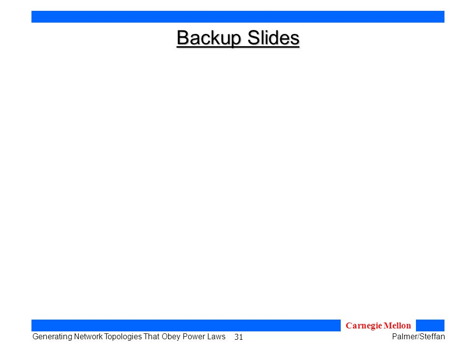 31 Generating Network Topologies That Obey Power LawsPalmer/Steffan Carnegie Mellon Backup Slides