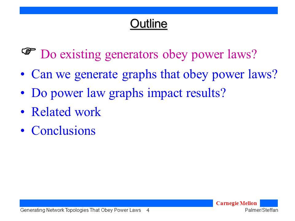 15 Generating Network Topologies That Obey Power LawsPalmer/Steffan Carnegie Mellon Recursive Topology Generator β γ α Our Recursive Distribution: 80/20 Distribution: 80%20% generalize to a 2D adjacency matrix