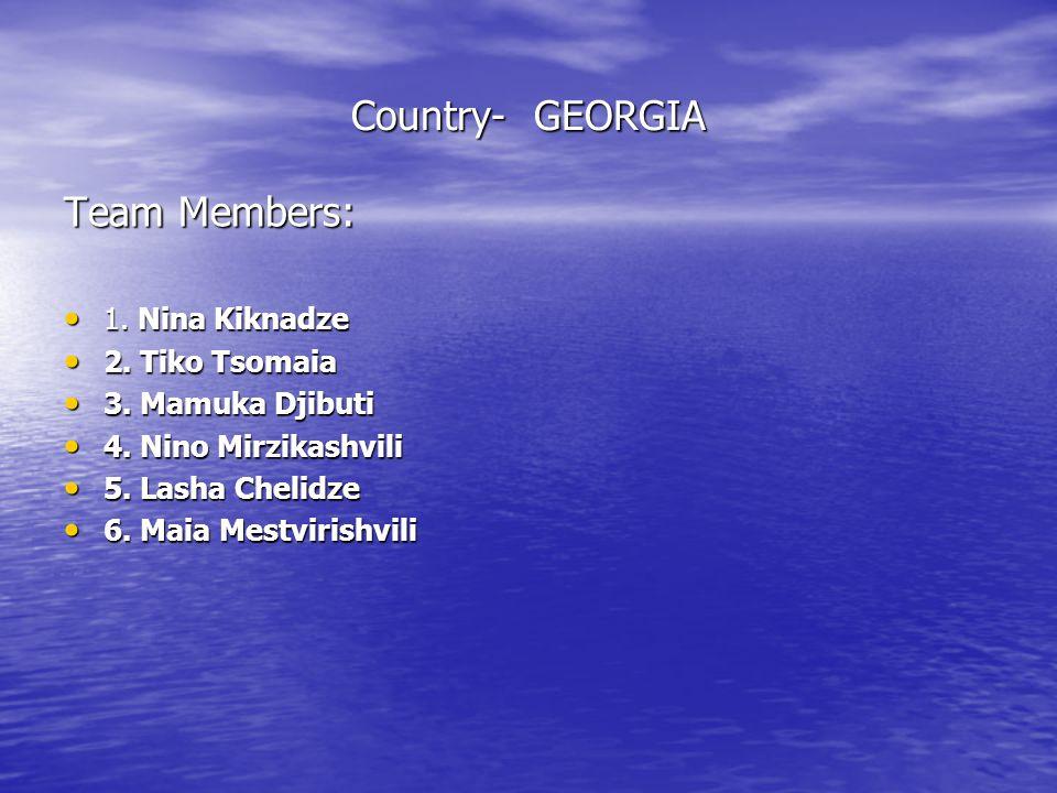 Country- GEORGIA Team Members: 1.Nina Kiknadze 1.