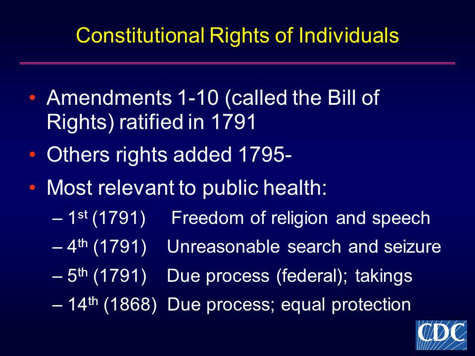 Constitutional Rights of Individuals Amendments 1-10 (called the Bill of Rights) ratified in 1791 Others rights added 1795- Most relevant to public he