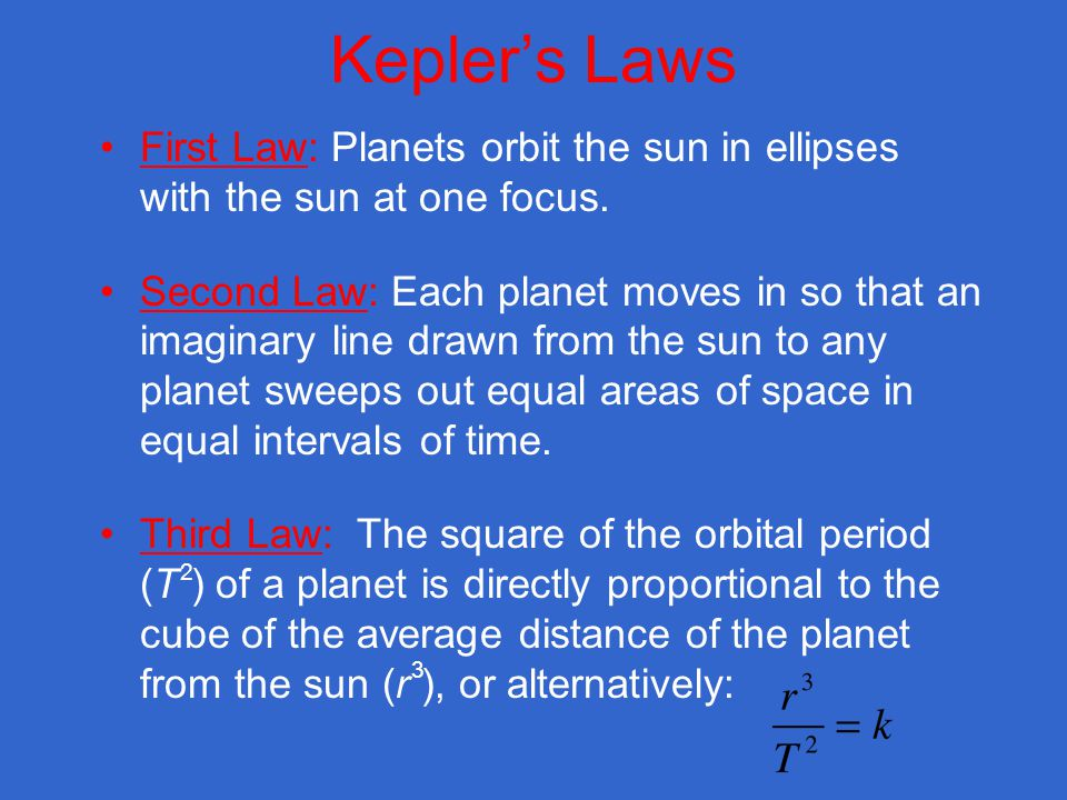Keplers Laws First Law: Planets orbit the sun in ellipses with the sun at one focus.