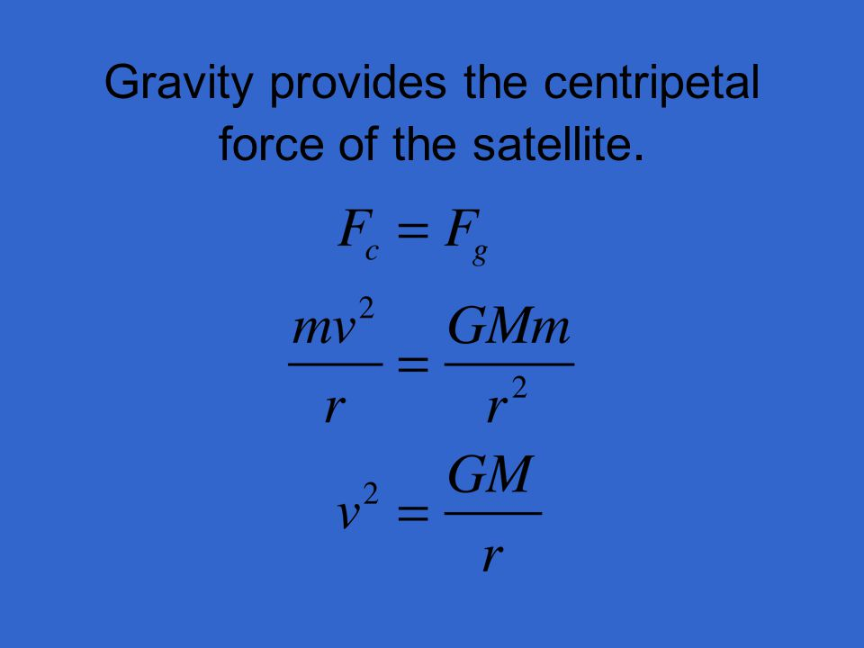 Gravity provides the centripetal force of the satellite.