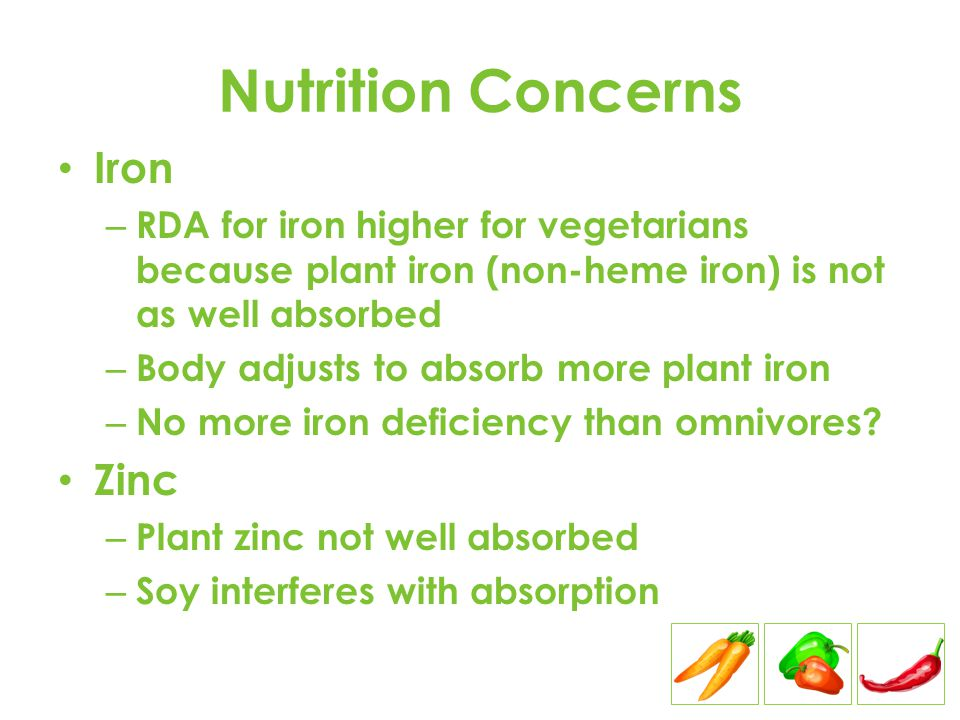 Nutrition Concerns Iron – RDA for iron higher for vegetarians because plant iron (non-heme iron) is not as well absorbed – Body adjusts to absorb more plant iron – No more iron deficiency than omnivores.