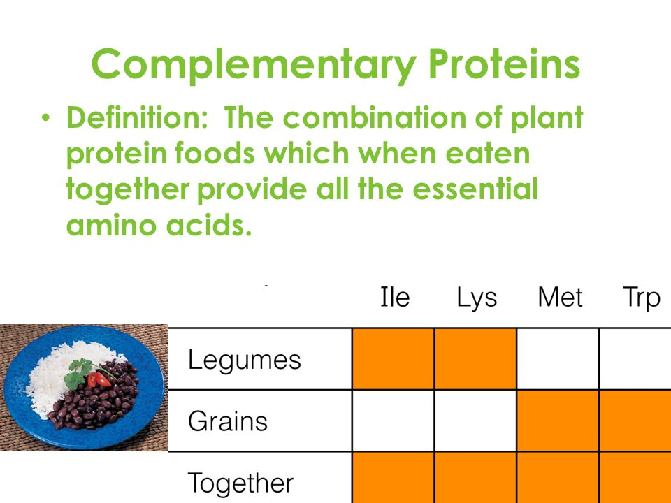 Complementary Proteins Definition: The combination of plant protein foods which when eaten together provide all the essential amino acids.